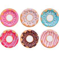 """Paper Plates - 60-Count Small Disposable Colorful Cute Donut Party Plates in 6 Assorted Donut Designs - Donut Party Supplies for Birthday, Dessert, Tea Party - 8"""" x 8"""""""