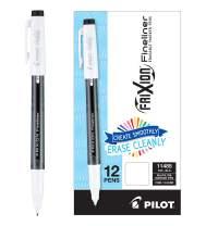 PILOT FriXion Fineliner Erasable Marker Pens, Fine Point, Black Ink, 12 Count (11485)