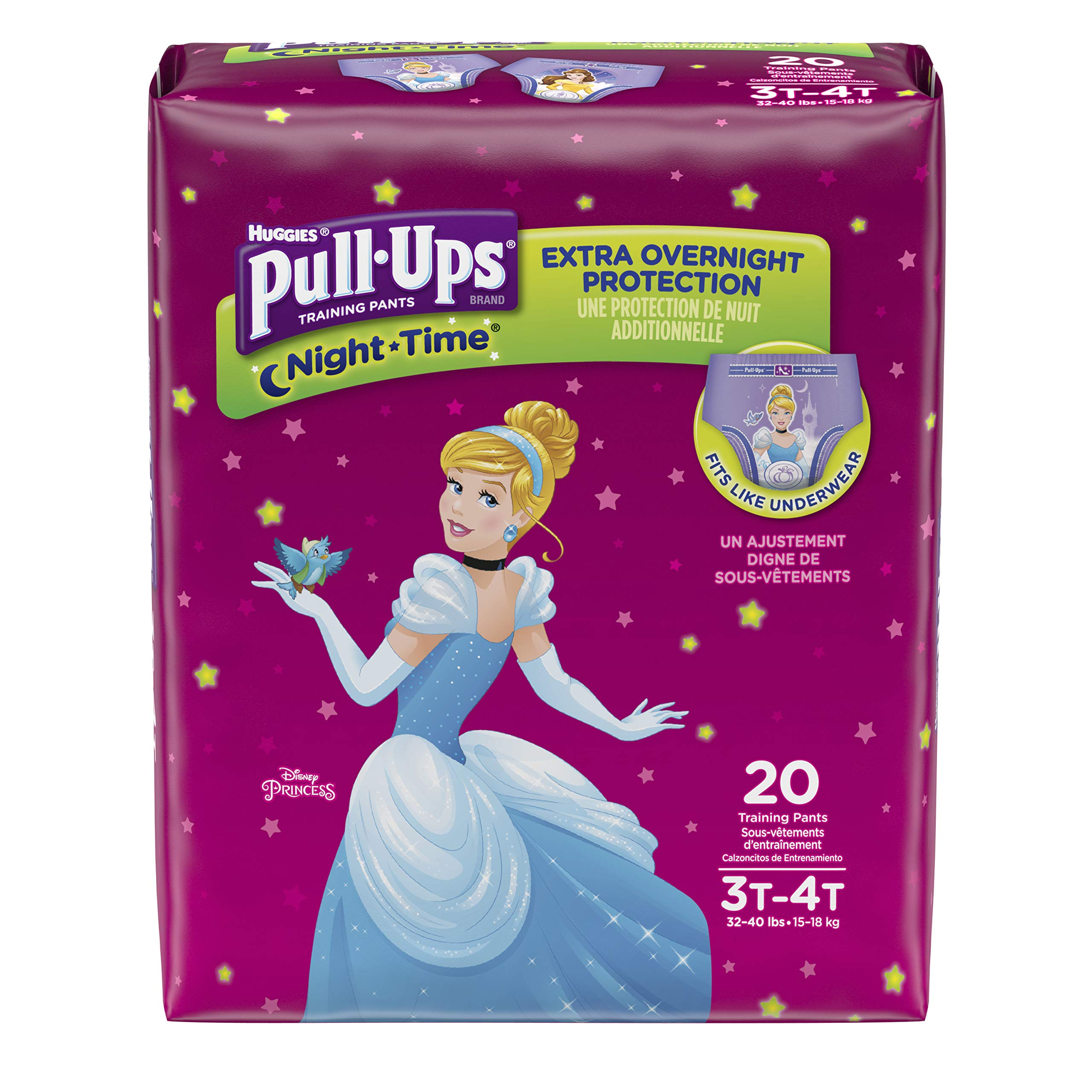 Pull-Ups Night-Time Potty Training Pants for Girls, 3T-4T (32-40 lb.), 20 Ct (Pack of 4). (Packaging May Vary)