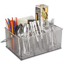 FURNINXS Cutlery Silverware Caddy, Silverware Organizer Holder Utensil Caddy for Countertop Stainless Steel Mesh Caddy with Handle for Party, Picnic, Camping, Kitchen Indoor and Outdoor (Silver)