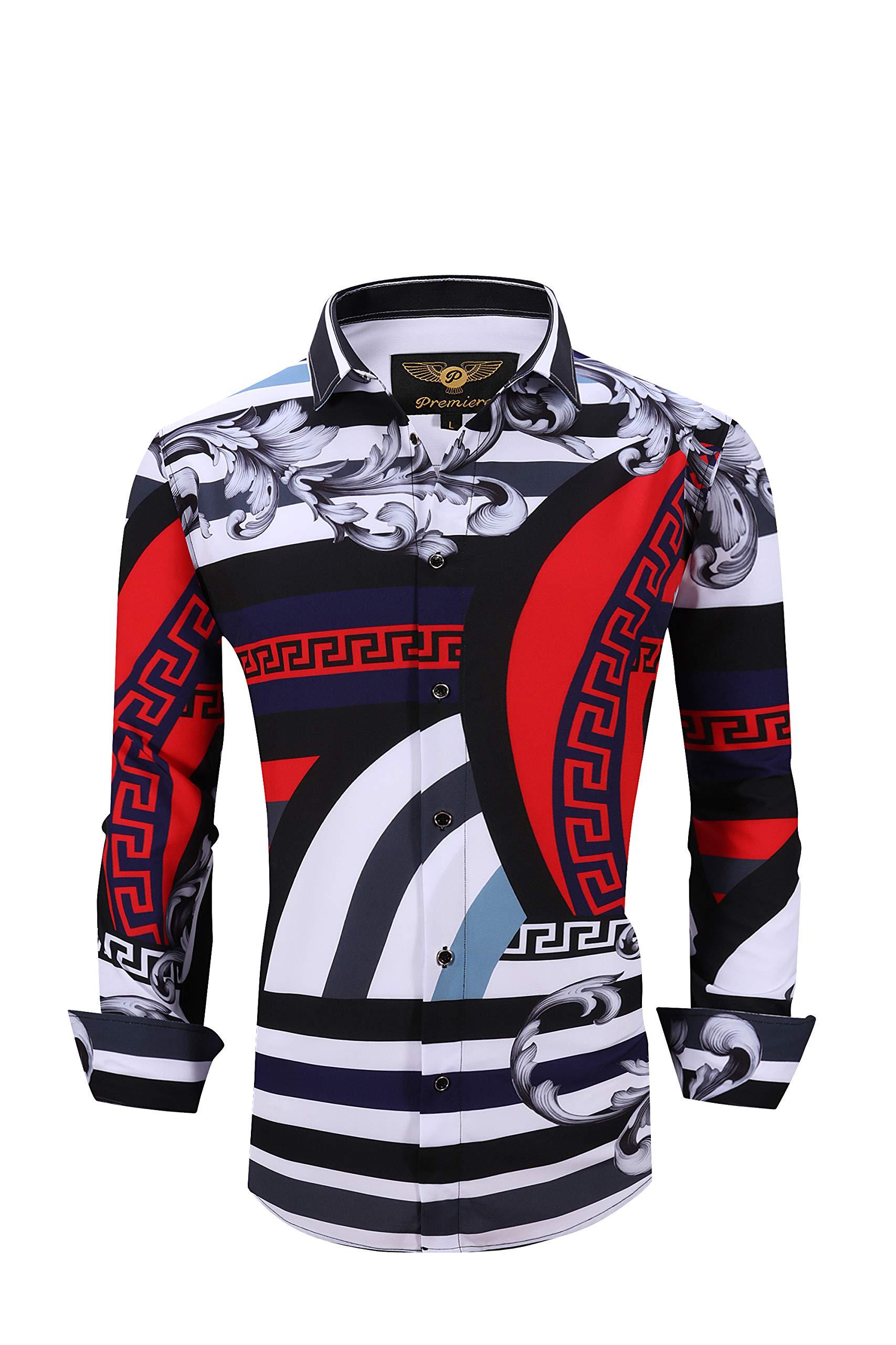 Men's Premiere Designer Fashion Dress Shirt Casual Shirt Woven Long Sleeve Button Down Shirt (3XL, Red Diamond 617)