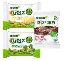 Sprout Organic Curlz & Crispy Chews Toddler Snacks, Variety Pack, Single Serve Packs 0.25 Ounce (24 Count)  8 of Each: Broccoli, White Cheddar, and Red Berry & Beet