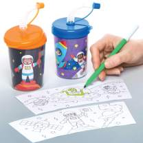 Baker Ross Colour in Solar System Bendy Straw Travel Cup for Kids, Great Colour in Projects for Arts and Crafts Activities for Kids (Pack of 3)
