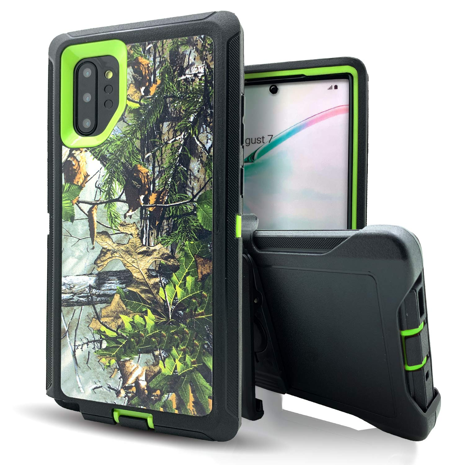 Galaxy Note 10 Case,Cases for Note 10,Vodico Heavy Duty Shockproof Protective Phone Cover with Kickstand&Belt Clip Holster Military Camo Defender High Impact Resistant TPU Bumper Case (Forest Green)