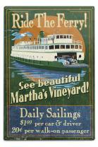 Lantern Press Martha's Vineyard, Massachusetts, Ferry Ride Vintage Sign (12x18 Aluminum Wall Sign, Wall Decor Ready to Hang)