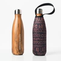 BBBYO Future Bottle + Carry Cover (Kofe Print), Wood, 500 ml/17 oz
