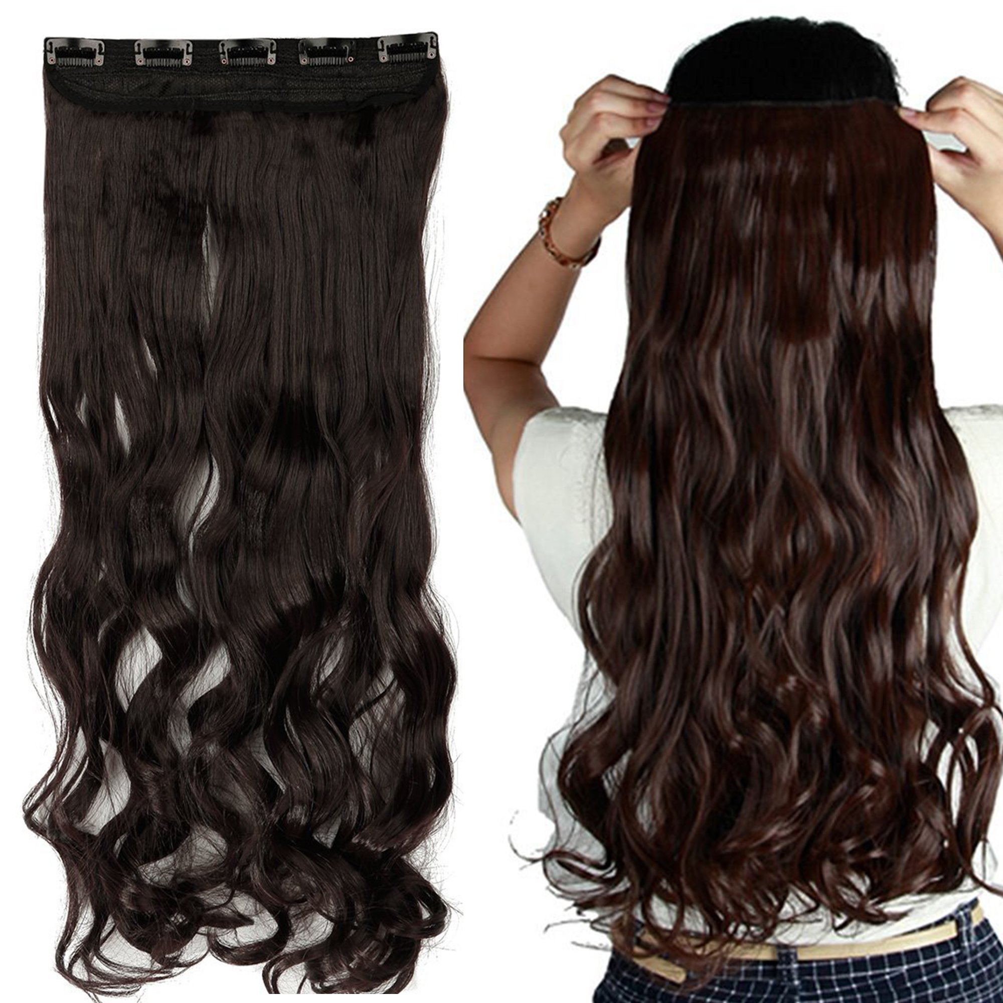 """S-noilite 17""""/23"""" Curly Wave 3/4 Full Head One Piece 5clips Clip in Hair Extensions Synthetic Hair Pieces for Girl Lady Women 48 colors (17"""" - Curly, Dark Brown)"""