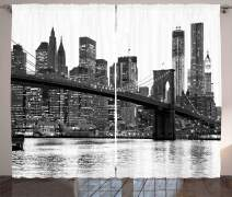 """Ambesonne Modern Curtains, Brooklyn Bridge Sunset with Manhattan American New York City Famous Town Image, Living Room Bedroom Window Drapes 2 Panel Set, 108"""" X 96"""", Black White"""