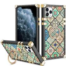 Vofolen Cover for iPhone 11 Pro Max Case Ring Holder Kickstand Exotic Colorful Square Diamond Crystal Anti-Shock Protective Rubber Shell Anti-Slip Finger Loop for iPhone 11 Pro Max 6.5 (Porcelain)