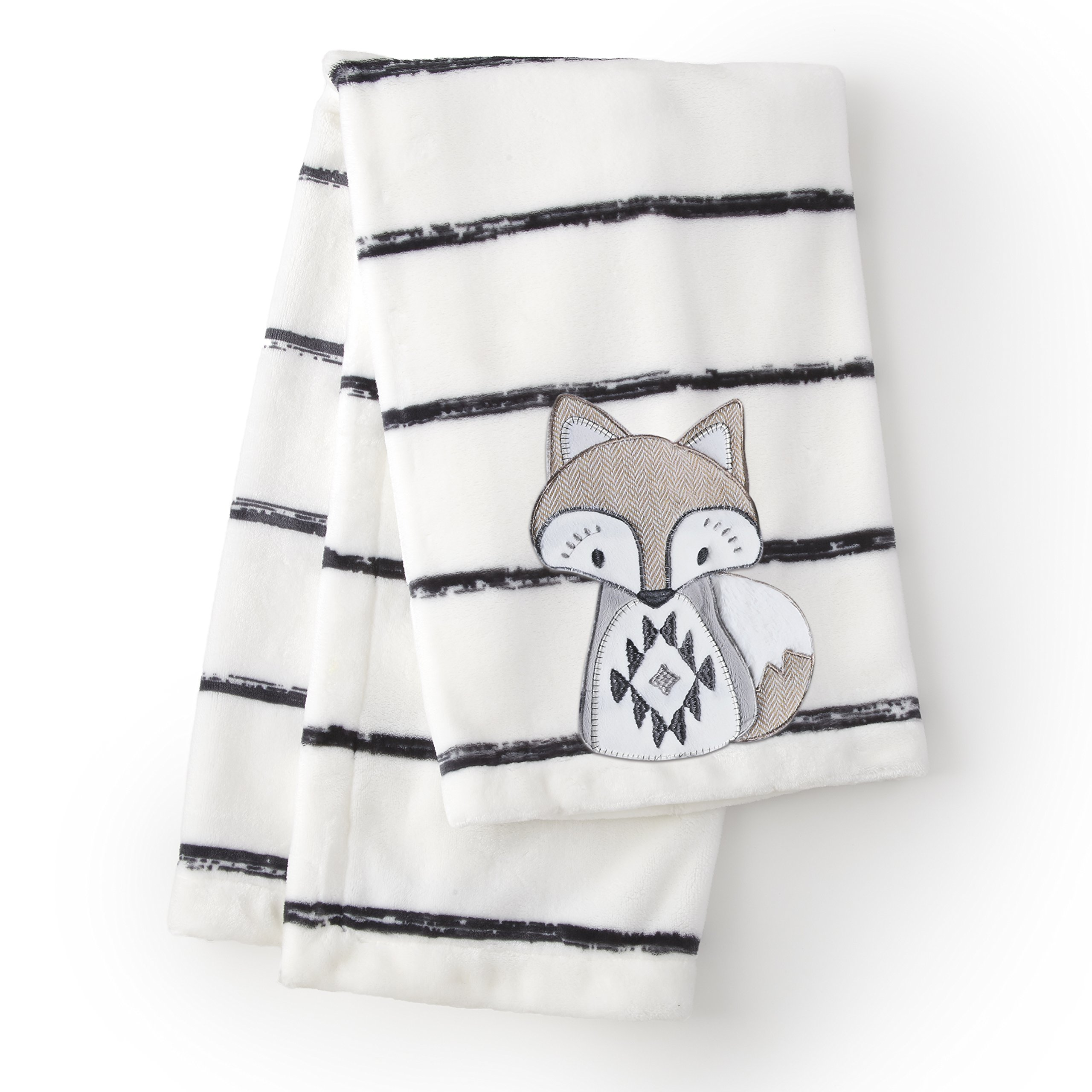 Levtex Baby - Bailey Plush Blanket - Appliqued and Embroidered Fox on Striped Plush - Charcoal, Taupe, White - Nursery Accessories - Blanket Size: 30 x 40 in.