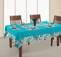 ShalinIndia Printed and Solid Table Covers 4 Seater Square 60X60 Inch,100% Duck Cotton,RDS14-2711SP,Aqua