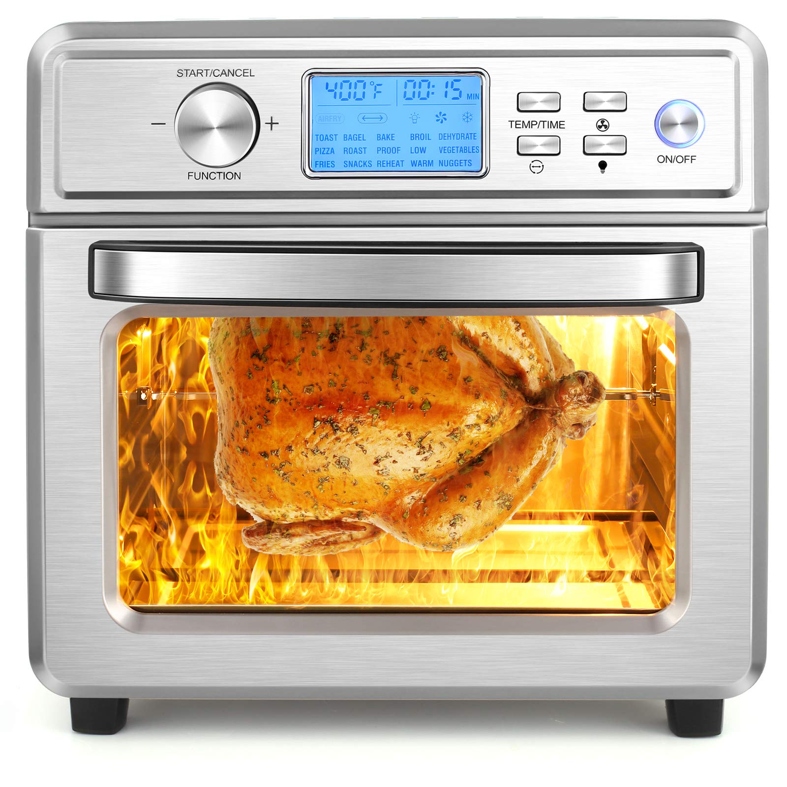 NICTEMAW Air Fryer, 21QT Air Fryer Oven, 1700W Electric Air Fryer Toaster Oven,16-in-1 Presets for Baking, with LED Display & Temperature/Time Dial,Roaster, Broiler, Rotisserie, Dehydrator,Pizza Oven.
