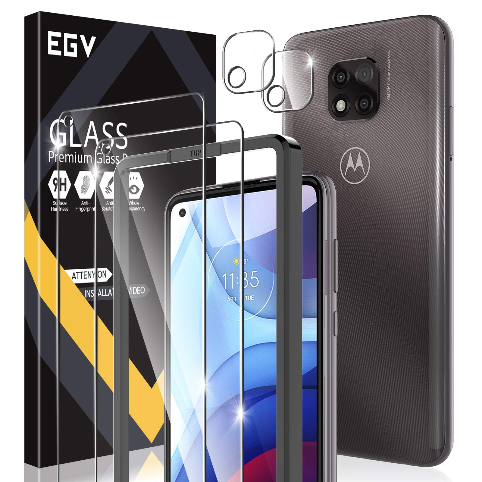 4 Pack EGV 2pcs Screen Protector + 2pcs Camera Lens Protector Compatible with Motorola Moto G Power 2021, Not for Moto G Power 2020, Tempered Glass, Easy Frame Installation, HD Ultra-Thin
