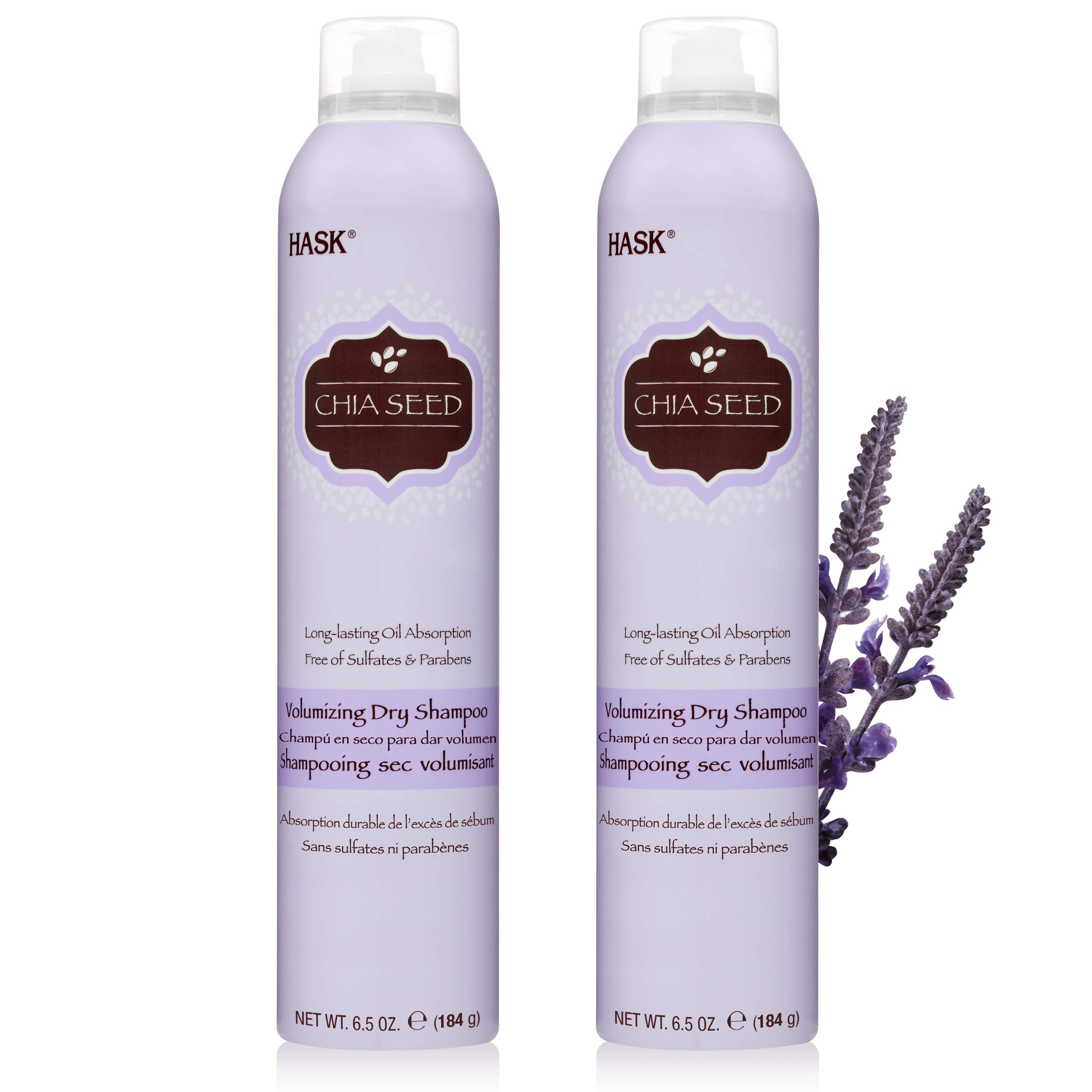 HASK Dry Shampoo Kits for all hair types, aluminum free, no sulfates, parabens, phthalates, gluten or artificial colors (Chia Seed, 6.5oz-Qty2)