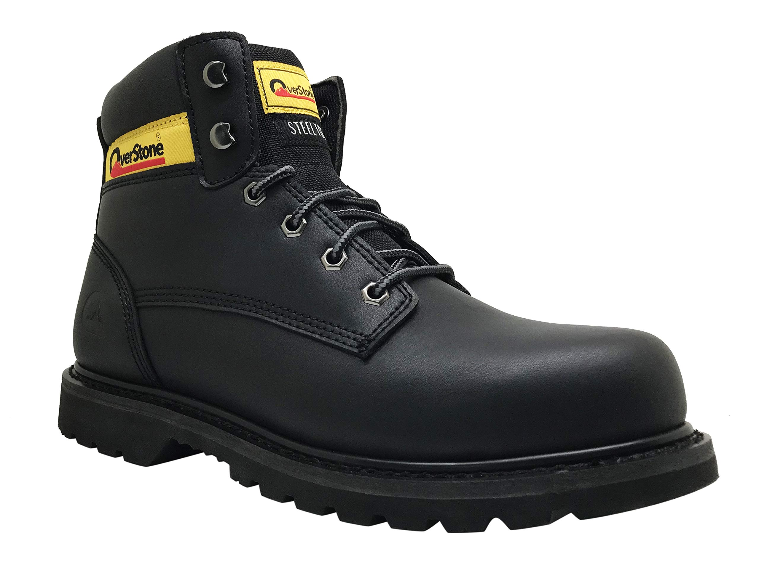 Overstone Men's 6 Inch Leather Work Boots, Steel Toe, Anti-Static, Penetration Resistant Protection, Industrial and Construction Work Boots