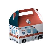 "Hammont Paper Treat Boxes - Party Favors Treat Container Cookie Boxes Cute Designs Perfect for Parties and Celebrations 6.25"" x 3.75"" x 3.5"" (10 Pack) (Ambulance)"