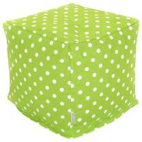 """Majestic Home Goods Lime Small Polka Dot Indoor Bean Bag Ottoman Pouf Cube 17"""" L x 17"""" W x 17"""" H"""