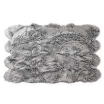Silky Super Soft Gray Faux Sheepskin Shag Rug Faux Fur - Machine Washable Great for Photography or Decor Get The Real Look Without Harming Animals (Octo Pelt (5 feet x 7 feet)