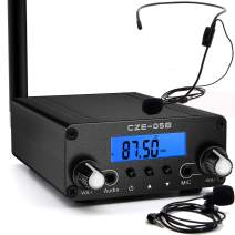 Fm Transmitter Bundle with Head Wear and Lapel Microphone,Radio Broadcast Stereo Station shortwave Transmitter 0.5W/0.1W for Church,Theater,Party,Park,School