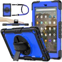 SEYMAC stock Case for Fire HD 10 (9th Generation 2019 Release), Drop-Proof Full-Body Case with 360 Degrees Rotating Stand [Screen Protector] Hand Strap for Fire HD 10 9th Generation (Blue+Black)