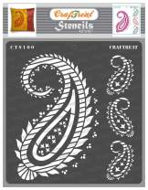 CrafTreat Paisley Wall Stencils for Painting Large Pattern - Paisley - 12x12 Inches - Reusable DIY Art and Craft Stencils - Fancy Paisley Stencils for Painting on Wood - Paisley Stencil for Fabric