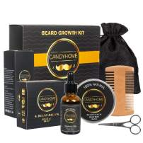Beard Growth Kit for Men Gifts, CandyHome Beard Growth Oil, Beard Comb, Beard Balm, Beard Scissors, Gift Box Beard Care Beard Grooming Kit for Men Beard Growth