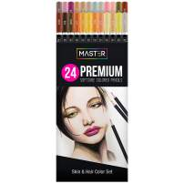 Master 24 Colored Pencil Skin and Hair Tone Set with Premium Soft Thick Core Vibrant Color Leads - Professional Ultra-Smooth Artist Quality - Portrait Blending, Shading, Layering, Adult Coloring Books