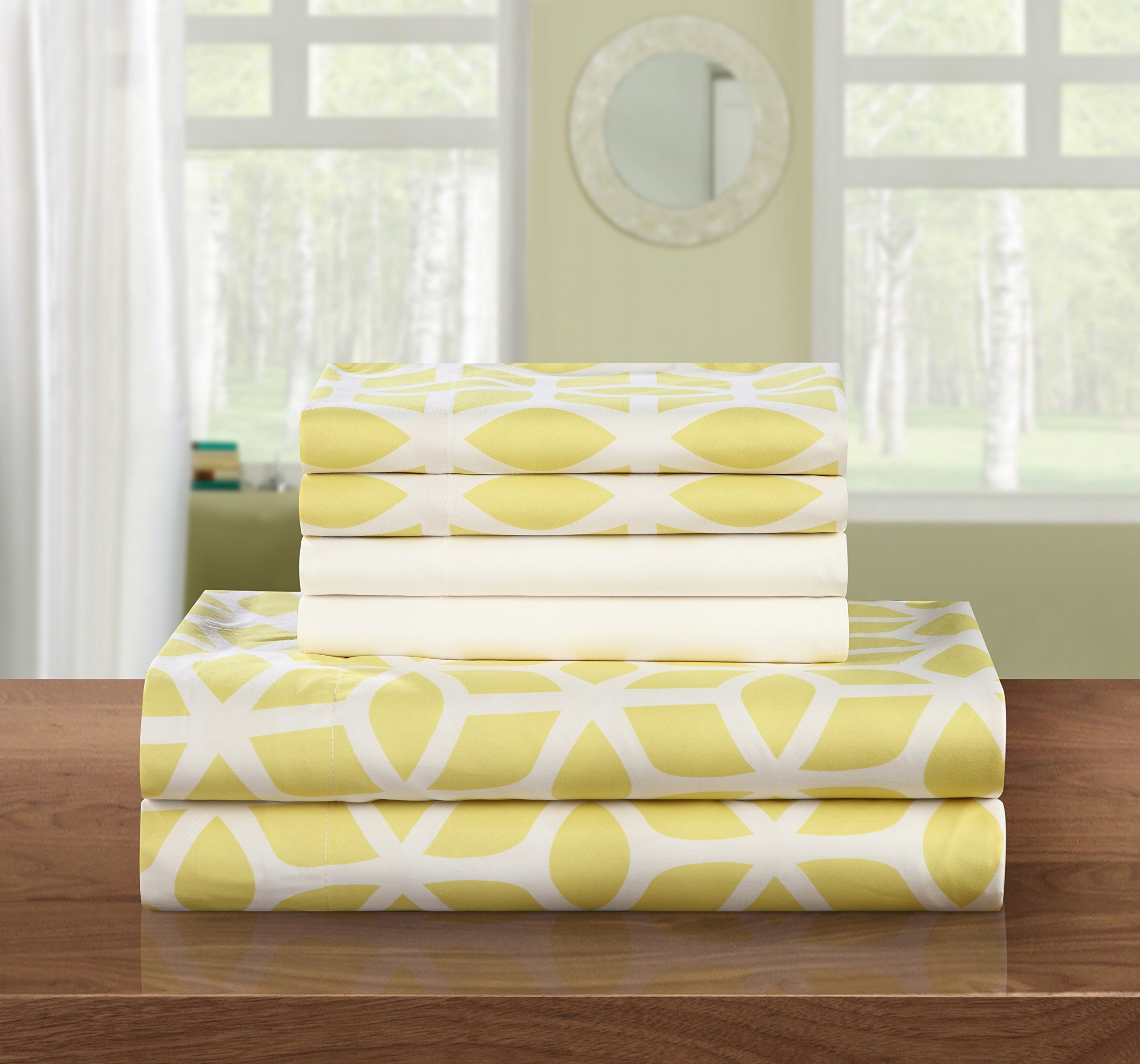 Chic Home 6 Piece Bailee Supersoft Brushed Microfiber Deep Pocket Striped Pattern Sheet Set with 2 Bonus Pillow Cases, Queen, Yellow