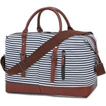Canvas Travel Duffle Bag for Women Carry on Weekender Overnight Tote Duffel Bag for Ladies Oversized Luggage Bag Blue Stripe