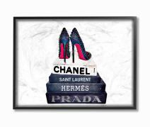 Stupell Industries Glam Fashion Book Set BW Stud Pump Heels Framed Giclee Texturized Art, Proudly Made in USA