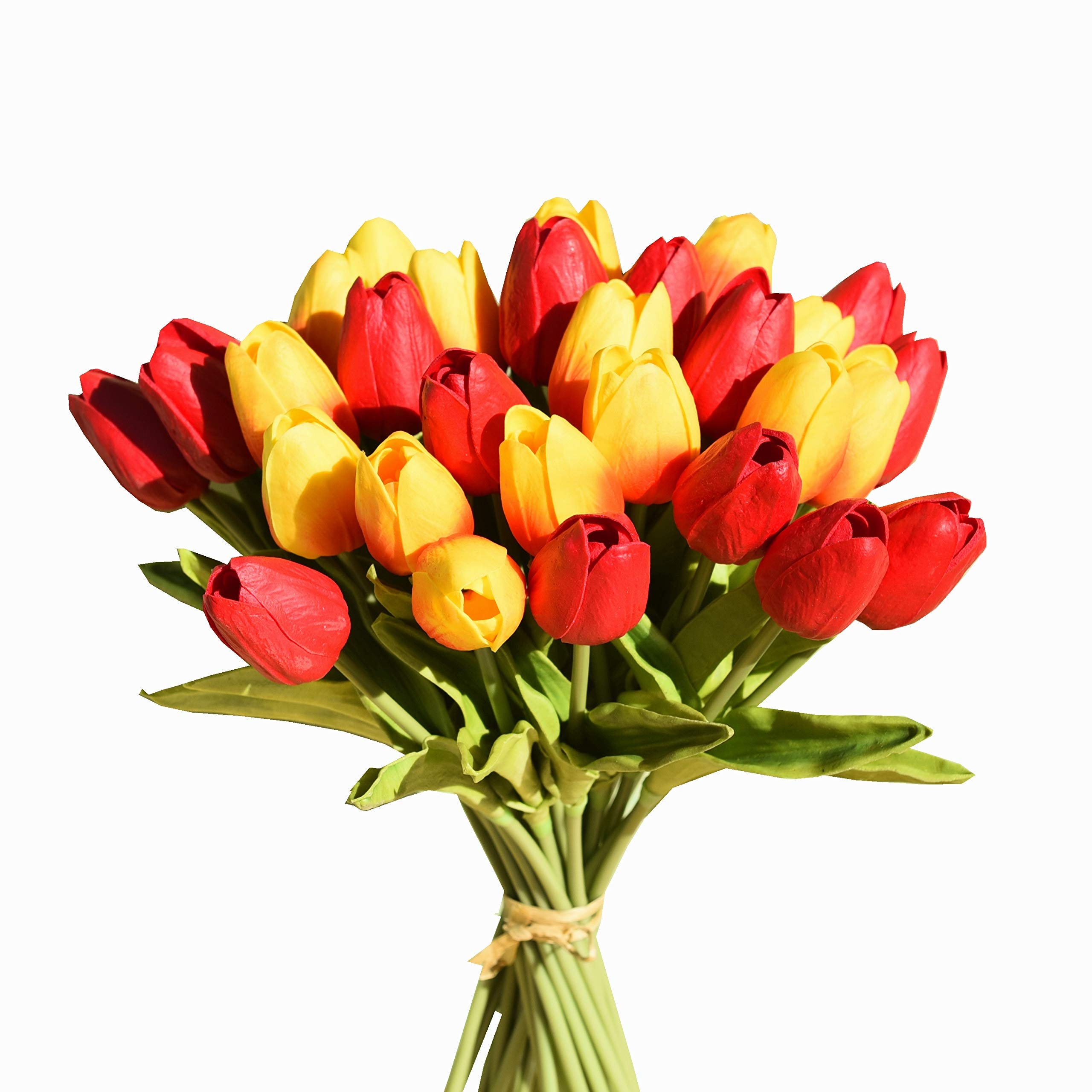 """Mandy's 28pcs Orange and red 14"""" Artificial Tulips Flowers for Party Home Decoration (vase not Include)"""