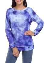 Urparcel Women's Round Neck Long-Sleeved T-Shirt, Light and Slim Sweatshirt-tie-dye Tunics Shirts Tops