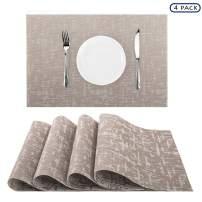 "Nuovoware Placemats, [4 PACK] 11.8"" H x 17.7"" W Premium Exquisite Crossweave Stain Resistant Heat-resistant Non-slip Textilene Woven Plaid Kitchen Table Dining Mat Pads Place Mats, Beige Gray"