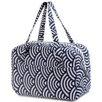 Lunch Bag for Women Men Kids Insulated Lunch Box, Reusable Cooler Tote Tiffin Handbag for Work Picnic Office Travel, Japanese Style Pattern Linen Cotton by Soundance, Scalloped Waves
