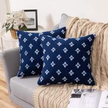 MIULEE Set of 2 Decorative Throw Pillow Covers Rhombic Jacquard Pillowcase Soft Square Cushion Case for Couch Sofa Bed Bedroom Living Room, 16x16 Inch, Navy Blue