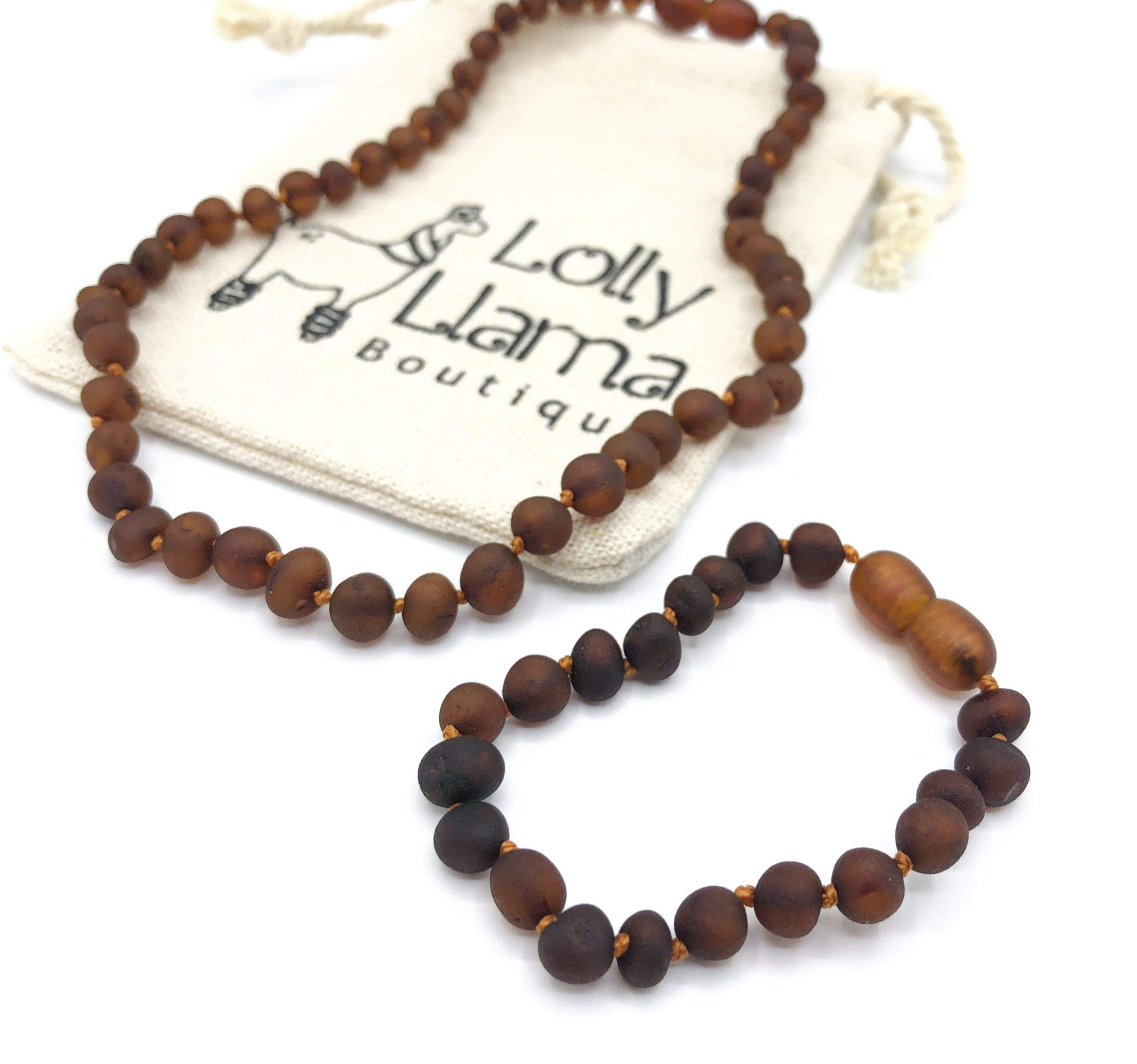 Amber Necklace and Bracelet Set- Certified Baltic Sea Amber - Raw Cognac Combo
