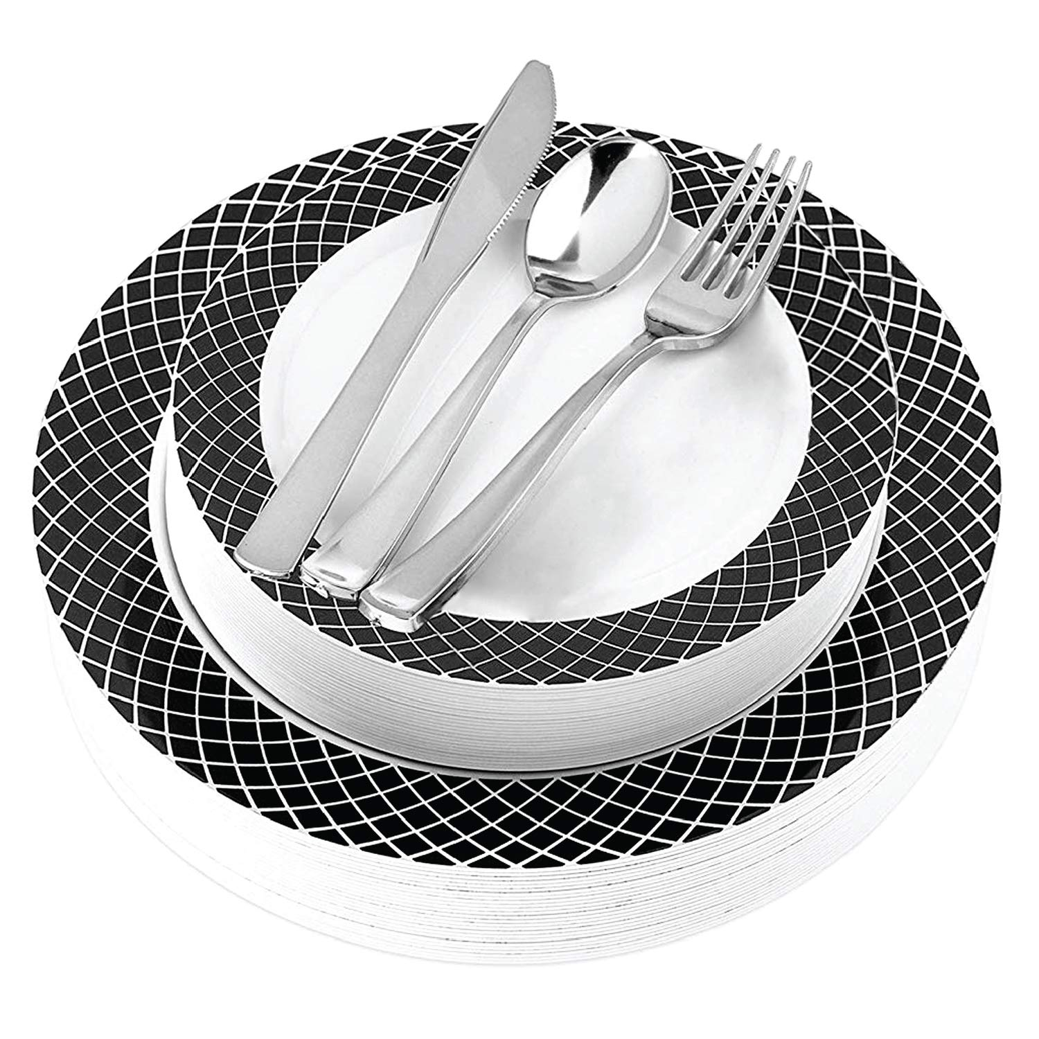 Black and White Plastic Dinnerware (125-Piece) Plastic Plates, Plastic Forks, Plastic Knives, Plastic Spoons - Service for 25 Guests Place Setting for Wedding, Party, Baby Shower, Birthday, Holiday