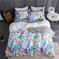 LAMEJOR Duvet Cover Set King Size Oil Painting Style Multi-Color Leaves/Floral Pattern Luxury Soft Bedding Set Comforter Cover(1 Duvet Cover+2 Pillowcases) White