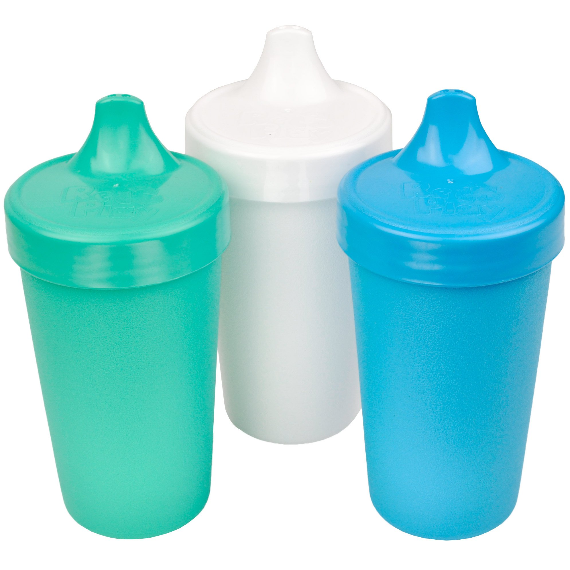 Re-Play Made in USA 3pk No Spill Sippy Cups for Baby, Toddler, and Child Feeding in Aqua, White and Sky Blue | Made from Eco Friendly Recycled Milk Jugs - Virtually Indestructible (Cool Breeze)