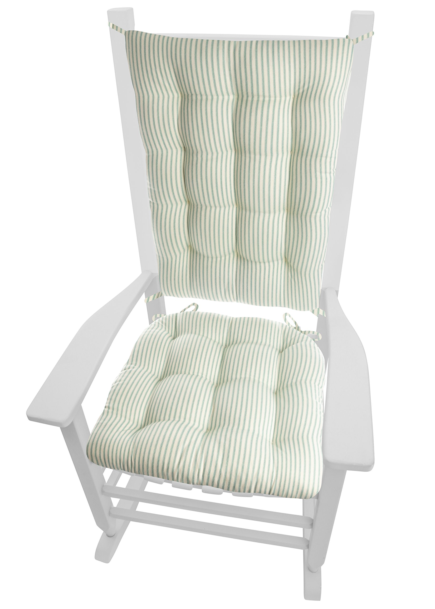 Barnett Home Decor Ticking Stripe Aqua Rocking Chair Cushions - Extra-Large - Seat Pad and Back Rest with Ties - Reversible, Latex Foam Fill - Made in USA (XL/Teal)