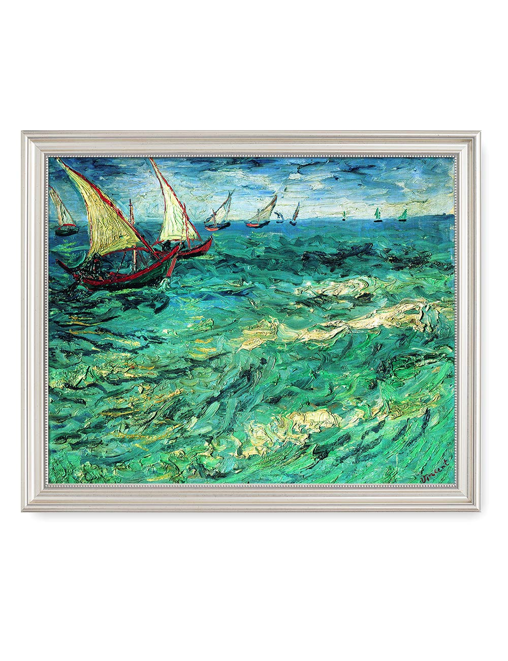 DECORARTS - Fishing Boats at Sea, Vincent Van Gogh Art Reproduction. Giclee Print& Framed Art for Wall Decor. 20x16, Framed Size: 23x19