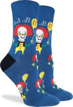 Good Luck Sock Women's Clown Socks - Blue, Adult Shoe Size 5-9