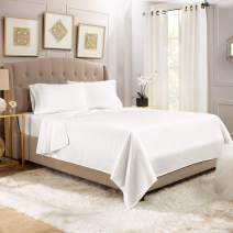 """Empyrean Bedding 14"""" - 16"""" Deep Pocket Fitted Sheet 3 Piece Set - Hotel Luxury Soft Double Brushed Microfiber Top Sheet - Wrinkle Free Fitted Bed Sheet, Flat Sheet and 1 Pillow Case - Twin XL, White"""