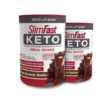 SlimFast Keto Meal Replacement Powder Fudge Brownie Batter Canister, 13.4 Ounce, Pack of 2