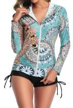 MILLCHIC Women Long Sleeve Rash Guard UPF 50+ UV Sun Protection Zip Front Swimsuit Shirt Printed Surfing Shirt Top