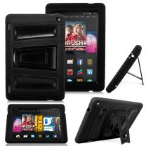 """Kindle Fire HD 7"""" 2014 Case - Cellularvilla Hybrid Armor Hard Soft Heavy Duty Dual Layer Combo Case Cover with Kickstand for Amazon Kindle Fire HD 7"""" inch 2014 4th Generation (Black)"""