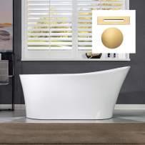 "WOODBRIDGE 59"" Acrylic Freestanding Bathtub Contemporary Soaking Tub with Brushed Gold Overflow and Drain B0083-BG-Drain &O,White"