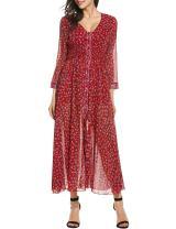 Zeagoo Women Floral Chiffon Deep V-Neck Long Sleeve Slit Button Long Maxi Beach Dress B-red XX-Large