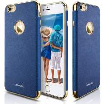 LOHASIC iPhone 6s Case, iPhone 6 Case, [Premium Leather] Luxury Textured Back Cover Electroplate Frame [Slim Body] Flexible Soft Shockproof Cases Compatible with iPhone 6s & iPhone 6 - [Ink Blue]