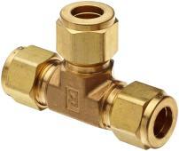 "Parker A-Lok 1ET1-B Brass Compression Tube Fitting, Tee, 1/16"" Tube OD"